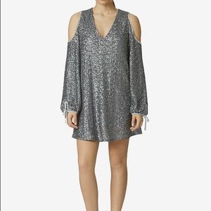 NWT Avec Les Filles Sequined cold shoulder dress